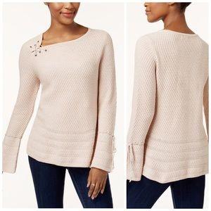 Style & Co Blush Lace Up Sweater Size Large Petite